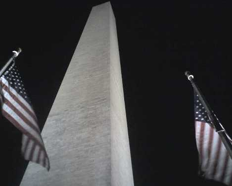Washington Monument Flags at night